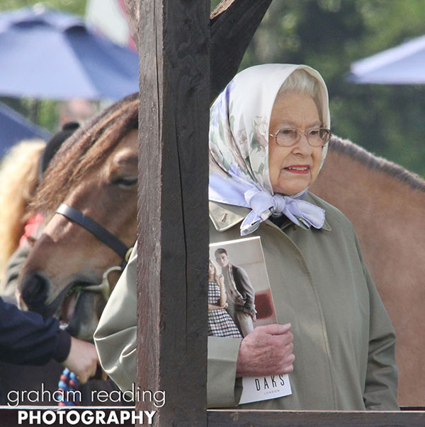 Queen watches her horses in the class 97 Copper Horse Arena